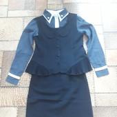 Школьная форма, костюм, комплект (обка+жилет+блуза) для девочки.