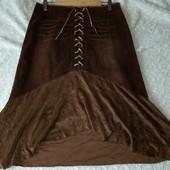 Скидка УП-10%.Authentic style, cтильная микро-вельветовая  юбка с воланом внизу . размер 48,50
