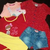 Лот,пакет летних вещей на девочку:халатик,шорты,костюм,кофта.