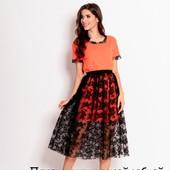 Оранжево-черное платье с кружевной юбкой, р.С-Л