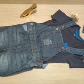 Германия!!! Шикарный лот для мальчика! Яркая футболка 86/92 и джинсовый комбинезон 92!