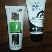 2 маски-пленки для лица: Золотая для отшелушивающего действия и Черная Pure Skin