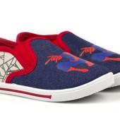 Фирменные джинсовые мокасины слипоны Spider-Man Спайдермен 28 размер