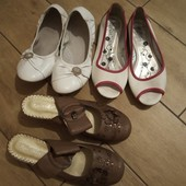3 пары обуви одним лотом р.35, стелька 22-22,5-23см, коричневые новые