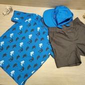 Германия!!! Суперовый наборчик для мальчика!!! Коттоновая футболка, Бермуды и кепка! 98/104!