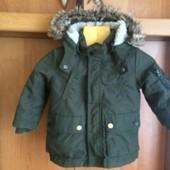 Куртка, легкая деми, внутри шерпа, размер 1 год 80 см. H&M. состояние отлично