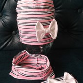 Трикотажный комплект шапка хомут повязка для девочки