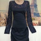 Платье с гипюровым верхом и рукавими, размер S.