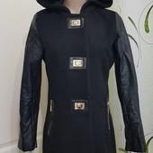 Кашемировое женское пальто с рукавами кожзам