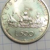 Монета. Серебро. Италия 500 лир 1996 год, оригинал, состояние !!!