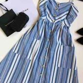 Тренд  этого сезона!   Фирменное платье сарафан Primark, в полоску, на пуговицах. Размер М.