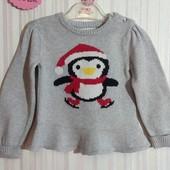 Серый свитер Young Dimension с пингвином р. 18-24 мес