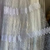 Обалденная турецкая фатиновая тюль с вышивкой и люрекс нитью.Метраж добираем по ставке.ост 7 метров