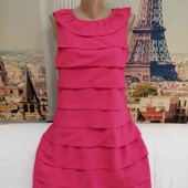 Яркое шифоновое платье прямого кроя, размер М.