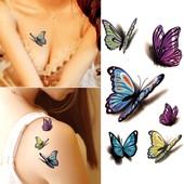 3 D бабочки!Будь на стиле!Будь с изюминкой- временная 3Д татуировка.Обалденно смотрится.3шт.