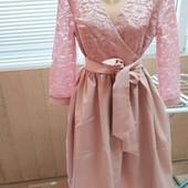 Шикарное платье с гипюром и двойным низом.2 цвета