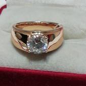 Шикарное кольцо р. 16,5 ! Медзолото, позолота 585, фианиты.