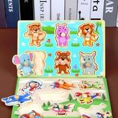 """Деревянная развивающая доска Сегена для детей """"Животные!"""" рамки вкладыши!"""