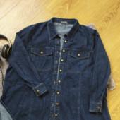 Суперська, джинсова, темно синя сорочка на ХХЛ