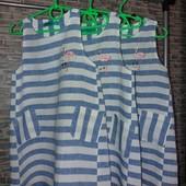 !!! Модный летний сарафан в полоску для девочки из легкого натурального льна.Рост:110,116,122