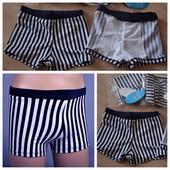 Плавательные шортики тёмно-тёмно синие в белую полоску, от 1 до 2 лет