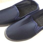 Мокасины мужские сетка синие