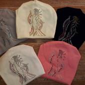 Красивые и теплые шапочки на флисе со стразиками. Размер 3-12 лет.
