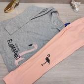 Германия!!! Лёгкая коттоновая пижамка с фламинго! 98/104, полномерная!