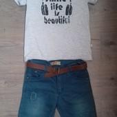 Комплект (футболка+шорти). На 128-134 см.