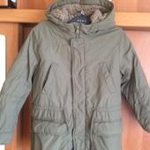 Куртка, парка, деми, внутри шерпа, р 7-8 лет 130 см, United colors of Benetton, состояние отличное