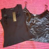 Две новых черных маечки, разм. xl/xxl. Атласная и хлопковая. Сток.