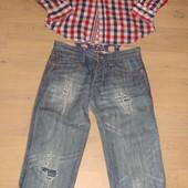Классный мужской лот - рубашка-клетка+джинсы - размер М/С