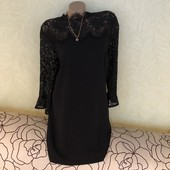 Роскошное дорогое чёрное платье с кружевом-ресничка Papaya, сток эксклюзив! В составе 29% вискоза