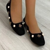 Замшевые туфли/балетки с декором.36.37.38.