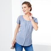 ☘ Блуза с коротким рукавом в мелкую клеточку, Tchibo(Германия), размеры наши: 48-50 (40 евро)