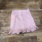 Пудрово розовая юбочка с рюшиком