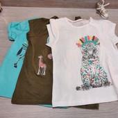 Распродажа!!! Германия!!! Лот из 3 коттоновых футболок для девочки! 98/104!
