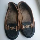 кожаные черные туфли по стельке 24.5-24 см