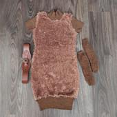 Плюшевое платье с ремнём и минетками Marions на рост 140см Турция