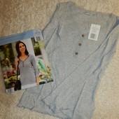 женская очаровательная футболка, длинный рукав, кружево, ткань в рубчик, от Blue Motion. Германия.