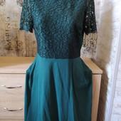 Платье изумрудного цвета с дорогим кружевом!