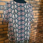 Блуза mango в змеиный принт, пудровая, дымчато-розовая