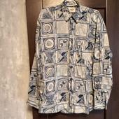 Фирменная мужская коттоновая рубашка в отличном состоянии р. 50-54