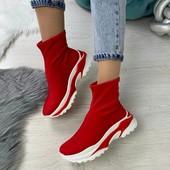 Кроссовки Чулок - UpF красные на платформе! Хит 2020!