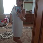 Платье белое с открытой спинкой, коттон р.46