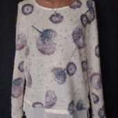 Шикарная лёгенькая пушистая кофточка с блузовым низом,паетки,L/xl