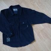 Вельветовая рубашка на молнии синего цвета в очень хорошем состоянии