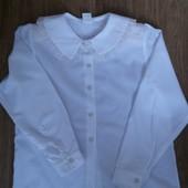 Новая нарядная белоснежная блузочка на девочку 9-12 лет