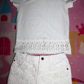 красивый белый комплект одежды на выход на 6-7 лет