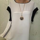 Шикарная легенькая нарядная футболочка блуза с лампасами р.14 Новое состояние Акция читайте
